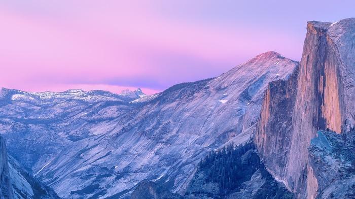 valley, landscape, california, mountain, Half Dome, cliff, nature, USA, morning, Yosemite National Park