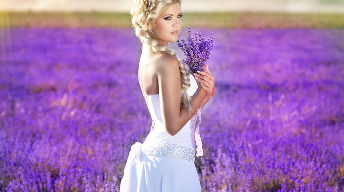 field, blonde, flowers, girl outdoors, wedding dress, sunlight, white dress, girl, looking away, purple flowers, lavender, bare shoulders, nature, braids, long hair, depth of field, model, purple