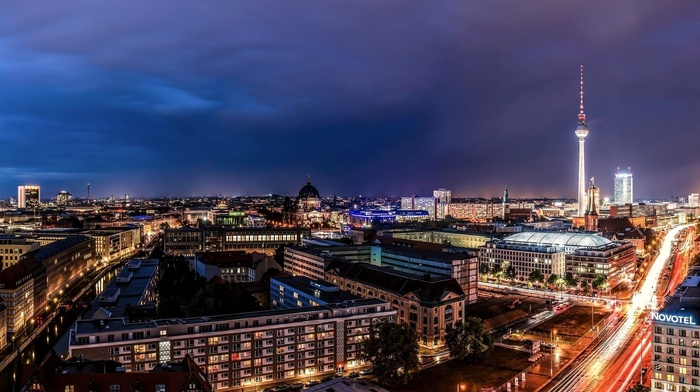street, building, light trails, tower, lights, Berlin, clouds, capital, urban, city, night, modern, architecture, long exposure, cathedral, trees, cityscape, antenna, Germany
