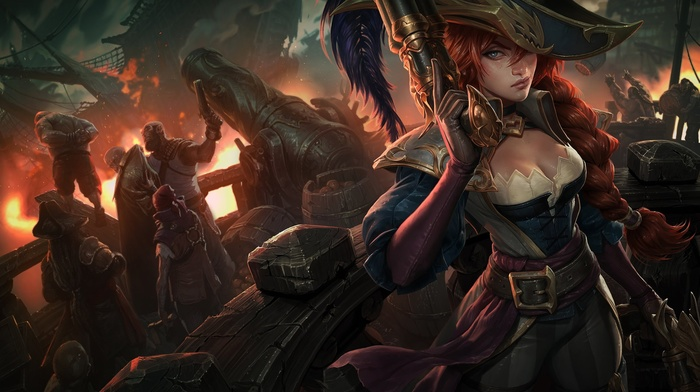 girl, redhead, pirates, BIlgewater, League of Legends, naval battles, cannons, Miss Fortune