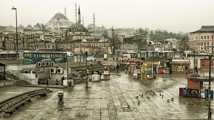 Turkey, Istanbul, bench, mosques, stairs, architecture, building, car, Islamic architecture, town square, city, overcast, pigeons, buses