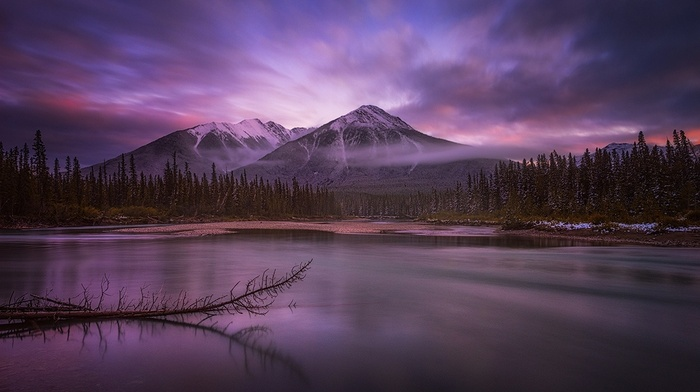 snowy peak, nature, sunrise, calm, mountain, mist, sky, landscape, forest, water, clouds, lake, Canada, banff national park