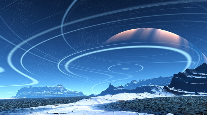 mountain, stars, planet, CGI, landscape, digital art, artwork, surreal