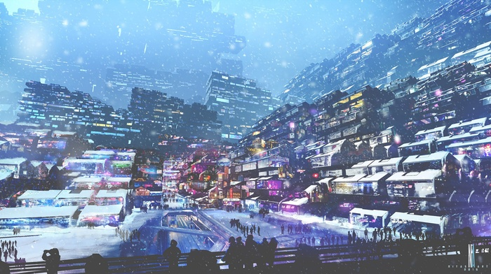 Digital Art Winter Lights Snow Cyberpunk People Artwork Futuristic