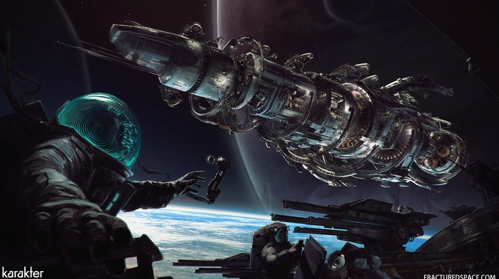 planet, digital art, space station, astronaut, fractured space, space, artwork