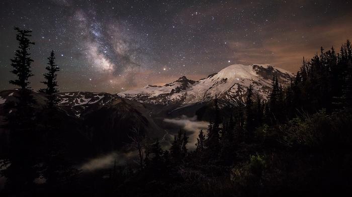 Milky Way, nature, long exposure, mist, moonlight, Mount Rainier, landscape, starry night, forest, snowy peak, galaxy, mountain