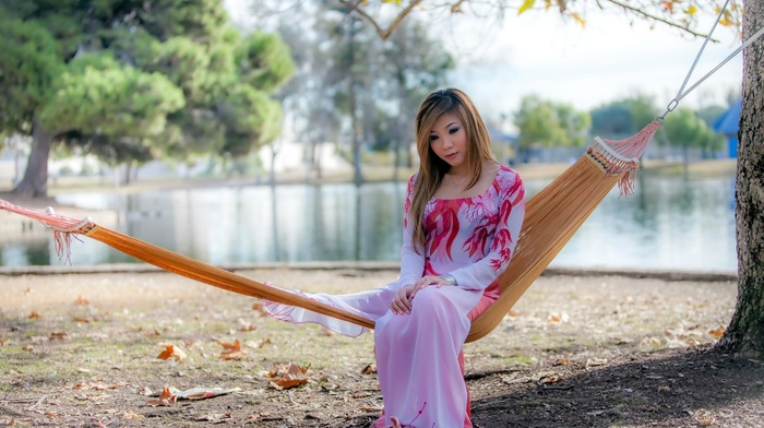 looking down, model, sad, alone, park, leaves, lake, dress, Asian, fall, high heels, girl outdoors, oriental, hammocks, sitting, trees, see, through clothing, long hair, girl, blonde
