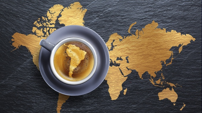 world, Archer TV show, coffee, Brazil, photo manipulation, Creative Design, Earth, wood, continents, South America, map