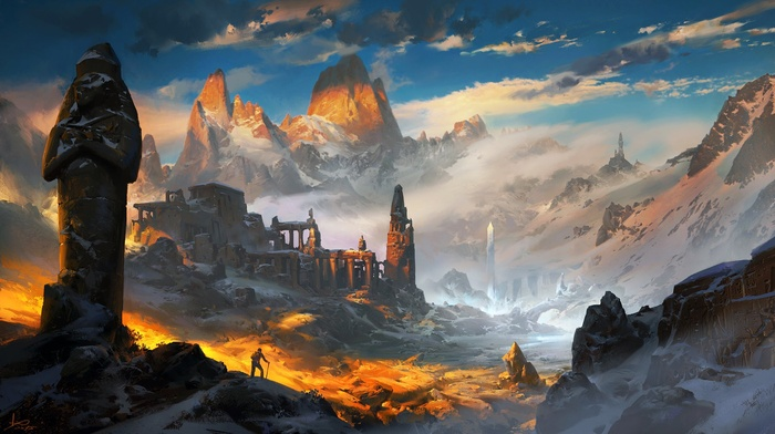 planet, fantasy art, ruin, digital art, artwork