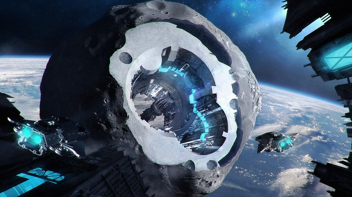 space, artwork, satellite, fantasy art, digital art, spaceship