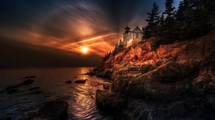 landscape, Halo, HDR, trees, sunset, lighthouse, sea, sky, rock, coast, nature, Maine