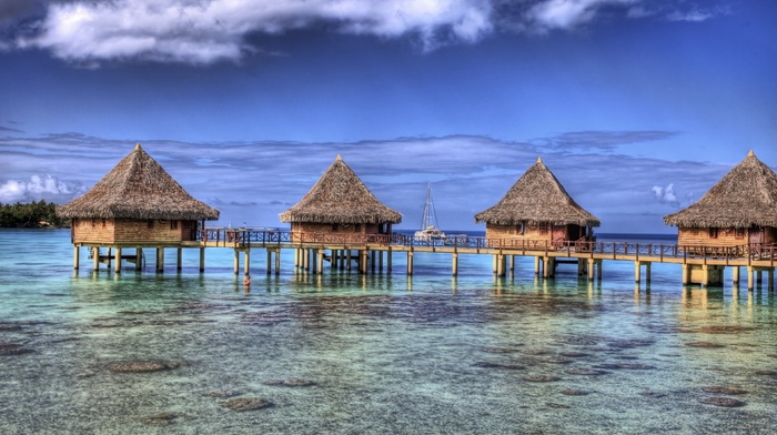 summer, nature, tropical, resort, bungalow, landscape, island, sea, beach, French Polynesia, atolls