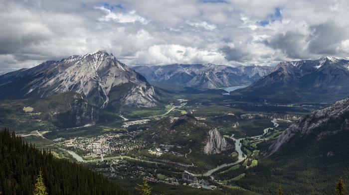 summer, clouds, nature, Canada, river, landscape, banff national park, forest, valley, town, panoramas, mountain