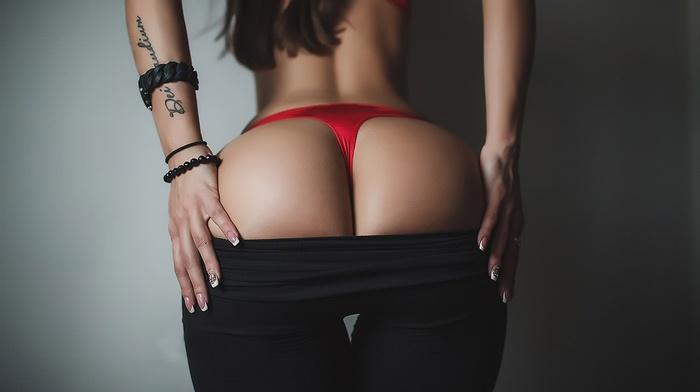 girl, yoga pants, lingerie, red lingerie, ass, tattoo, Pants down