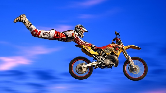 sports, helmet, flying, enduro, men, jumping, danger, wheels, motion blur, sky, Suzuki, motocross, clouds, motorcycle