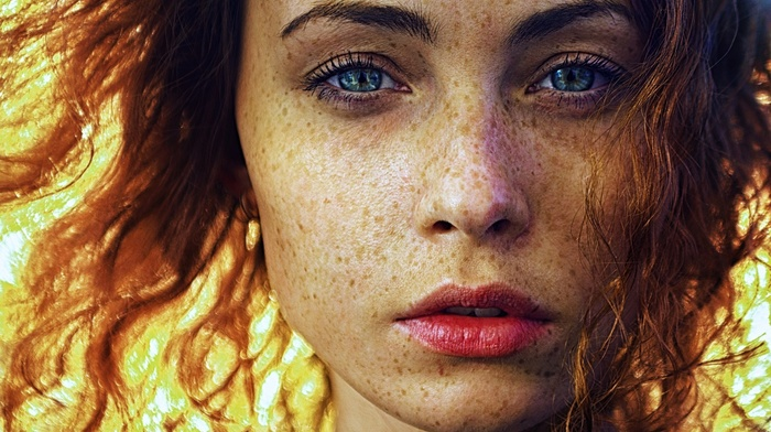 portrait, girl outdoors, sunlight, open mouth, face, looking at viewer, redhead, blue eyes, freckles, long hair, girl, model, wavy hair
