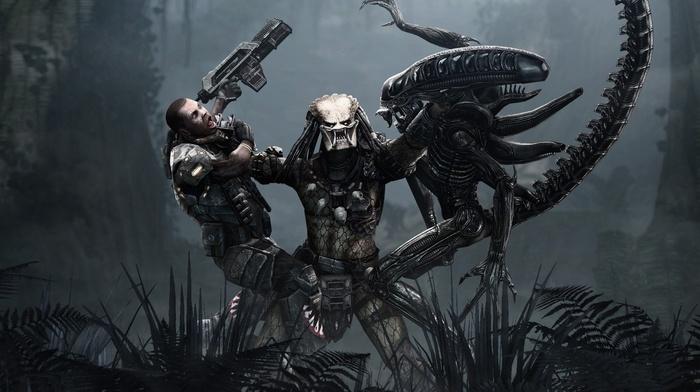men, battle, aliens, Alien vs. Predator, science fiction, Aliens movie, gun, artwork, fantasy art, predator movie