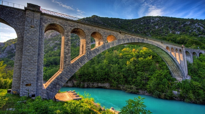 mountain, water, forest, landscape, architecture, green, turquoise, shrubs, trees, morning, HDR, nature, river, bridge
