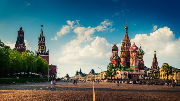 capital, Russia, people, town square, Moscow, clock towers, cathedral, street, clouds, old building, Red Square, architecture, urban, city, building, trees, cityscape, Kremlin, pavers