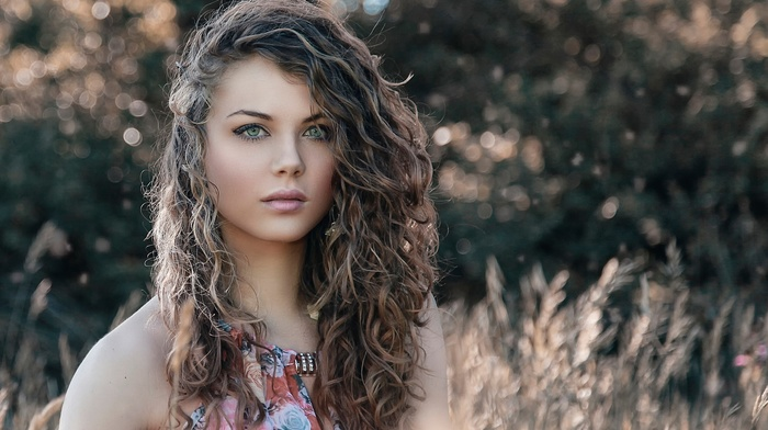girl outdoors, curly hair, long hair, brunette, girl, blue eyes, dress, looking at viewer, nature, bare shoulders, grain, Alessandro Di Cicco, model, face, wavy hair