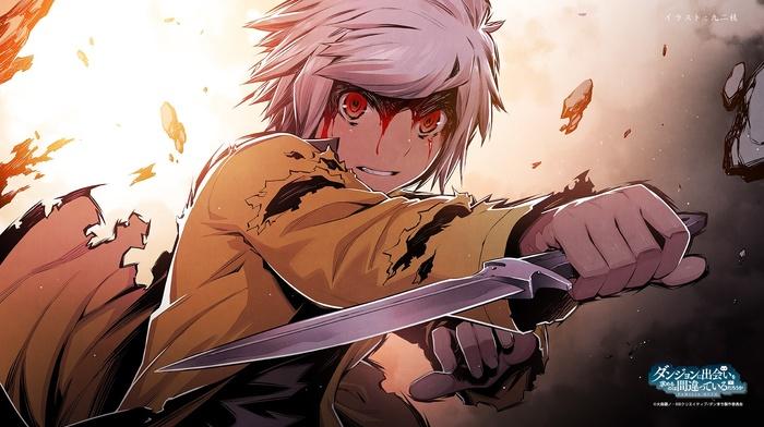 Dungeon ni Deai wo Motomeru no ha Machig, knife, anime boys, short hair, Bell Cranel, anime, blood, red eyes, white hair