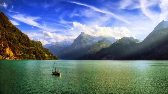 mist, sun rays, morning, Switzerland, landscape, clouds, nature, Alps, mountain, sailboats, water, lake