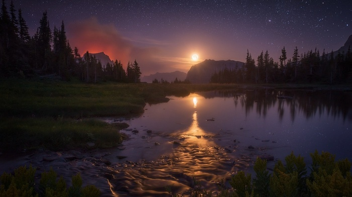 sky, Montana, mountain, landscape, Glacier National Park, reflection, shrubs, starry night, moon, nature, moonlight, trees, lake