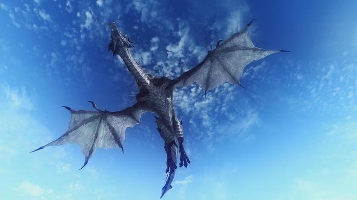 claws, scales, tail, dragon, clouds, flying, fantasy art, sky, the elder scrolls v skyrim, digital art, Dragon Wings