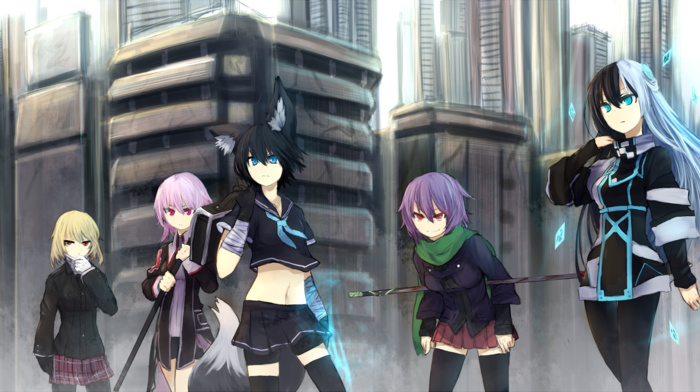 original characters, anime, anime girls, animal ears, Norah Bright, Shirogane Usagi, thigh, highs