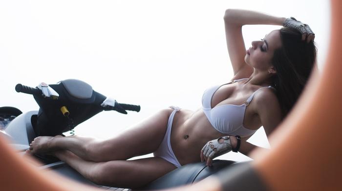 hands in hair, closed eyes, pierced navel, motorcycle, girl, white bikini