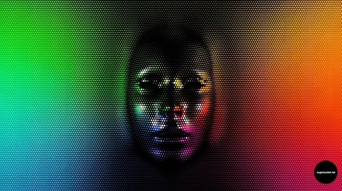 rainbow colors, face, pixels