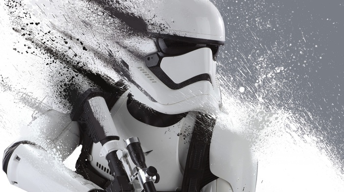 Star Wars, artwork, monochrome, dual monitors, Star Wars Episode VII, The Force Awakens, stormtrooper, multiple display