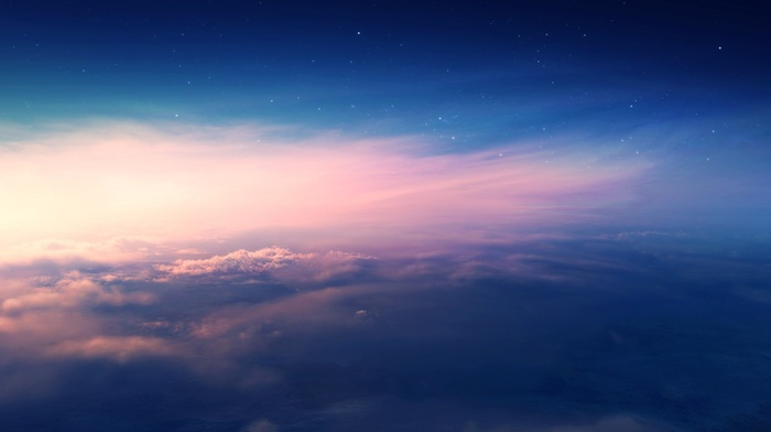 clouds, nature, sunset, stars