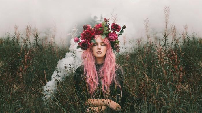 pink hair, wreaths, model, girl, girl outdoors