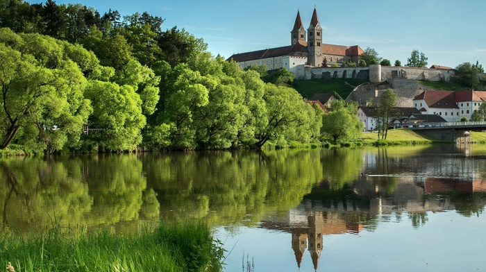lake, forest clearing, castle, nature, green, grass