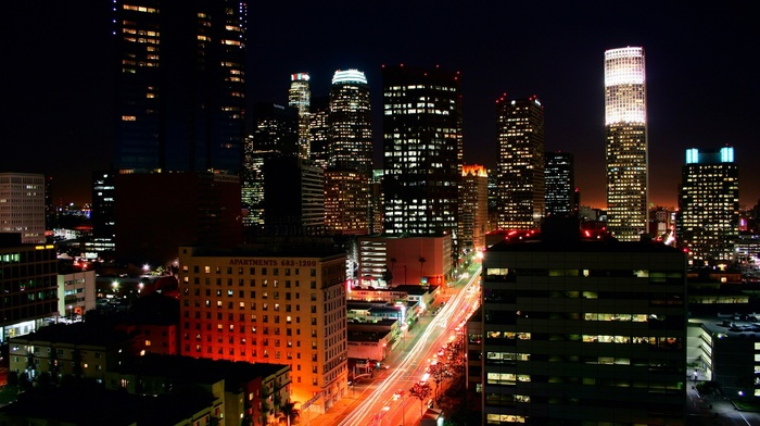 lights, night, cityscape, building, los angeles, road, USA, street light, traffic lights, skyscraper, city
