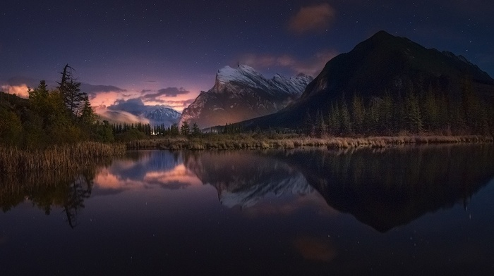 mountain, landscape, calm, starry night, snowy peak, lake, Canada, banff national park, reflection, shrubs, forest, nature, water