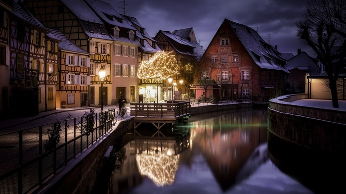 house, canal, city, street, lantern, France, water, lights, winter, snow, landscape, fence, Christmas ornaments, nature