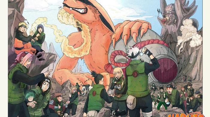 Naruto Shippuuden, Uzumaki Naruto, Hyuuga Neji, Akimichi Chji, Rock Lee, Haruno Sakura, Nara Shikamaru, manga, Kyuubi, Yamanaka Ino, Maito Gai, Hyuuga Hinata, Hatake Kakashi, Sa