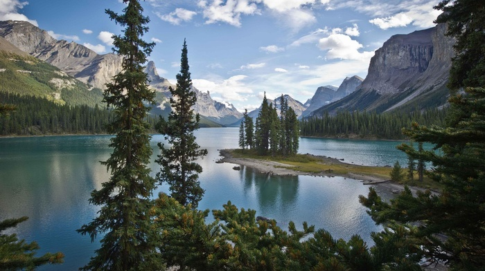 island, nature, lake, landscape, forest, trees, mountain, pine trees