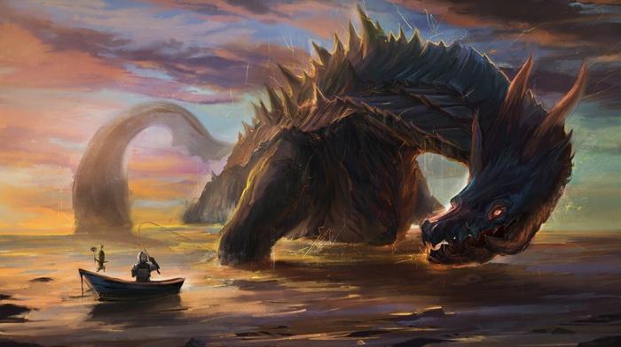 knight, knights, drawing, dragon, fantasy art, Monster Hunter, artwork, Lagiacrus