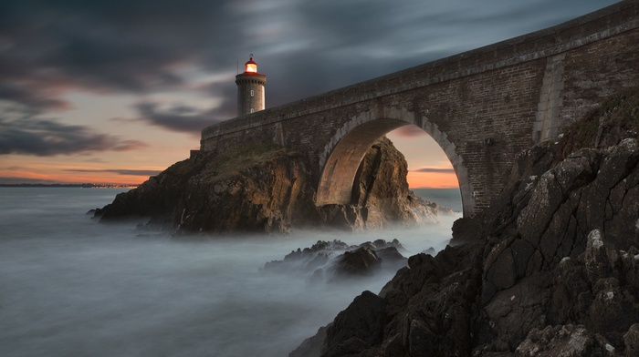 landscape, nature, bridge, lighthouse