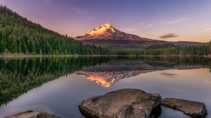 forest, snowy peak, sunset, lake, landscape, nature, evening, trees, water, mountain, reflection, rock