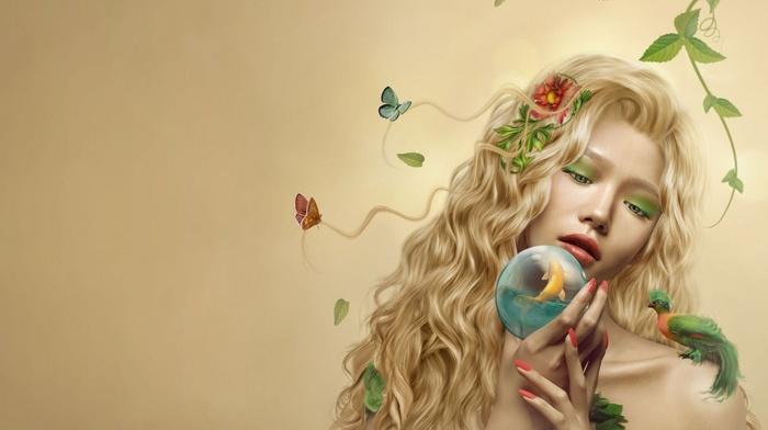 flower in hair, girl, artwork, painted nails, flowers, fish, butterfly, leaves, blonde, wavy hair, birds