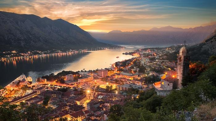 lake, clouds, sunset, church, nature, sky, Montenegro, mist, architecture, evening, lights, cityscape, landscape, sun rays, Kotor town, mountain