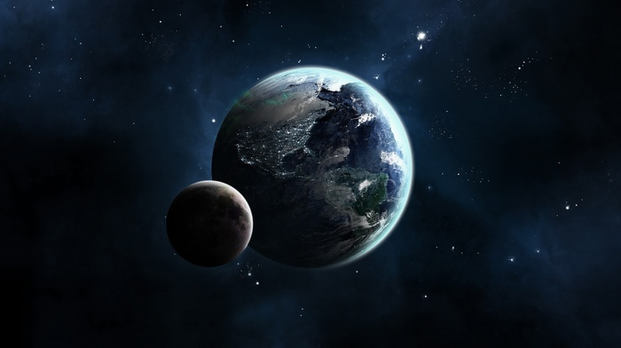 moon, stars, space, CG render, Earth, planet
