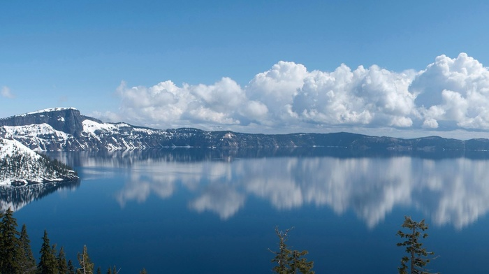 multiple display, landscape, snow, lake, crater lake, reflection, clouds