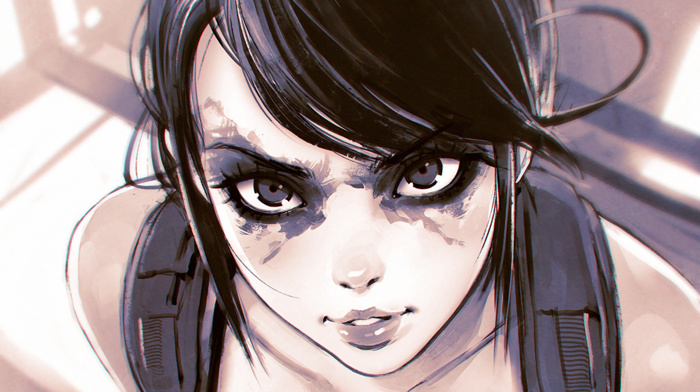 2D, Quiet, Metal Gear Solid, brunette, fan art, video games, anime girls, kuvshinov, ilya, gray eyes, manga