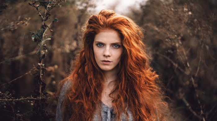 looking at viewer, plants, nature, freckles, girl, depth of field, blue eyes, wavy hair, long hair, face, portrait, model, redhead, German, girl outdoors, fall