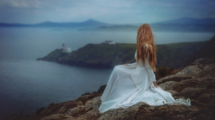 model, coast, white dress, lighthouse, redhead, emotions, gloomy, sea, cliff, girl, looking away